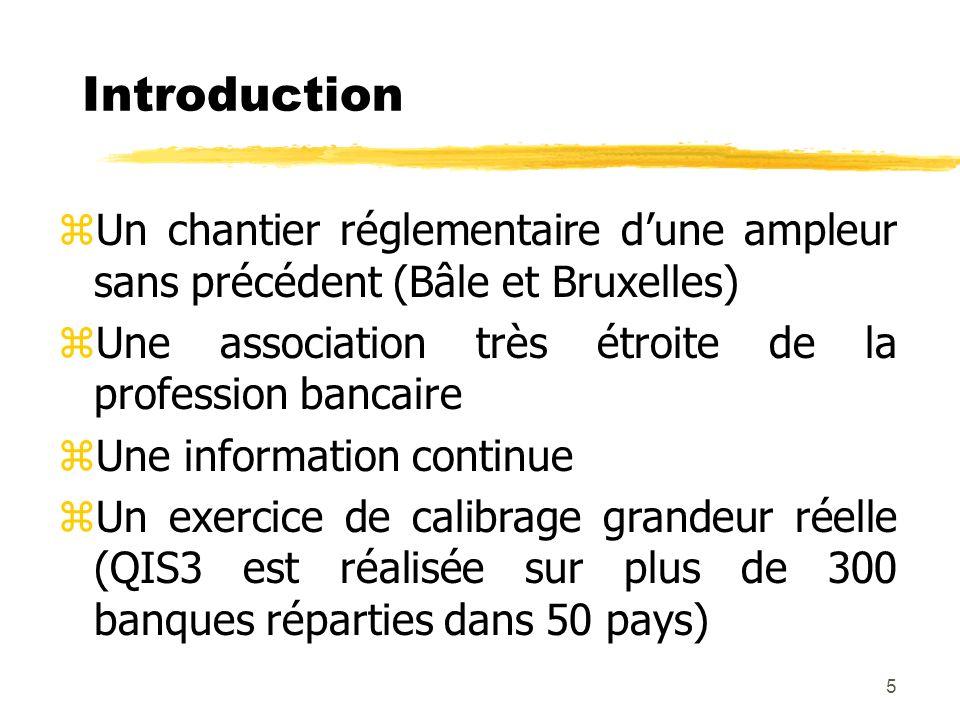 Introduction Un chantier réglementaire d'une ampleur sans précédent (Bâle et Bruxelles) Une association très étroite de la profession bancaire.