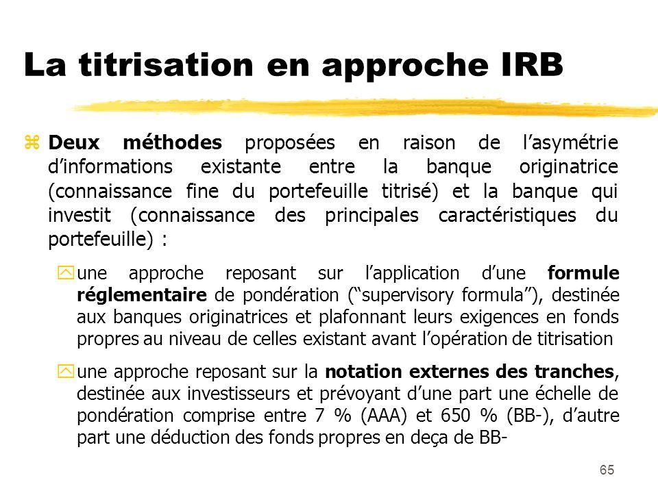 La titrisation en approche IRB