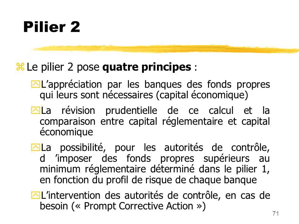 Pilier 2 Le pilier 2 pose quatre principes :