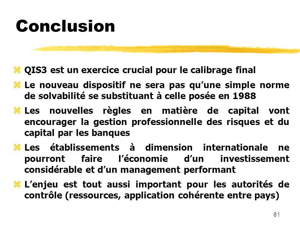 Conclusion QIS3 est un exercice crucial pour le calibrage final