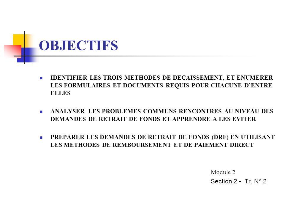 OBJECTIFS IDENTIFIER LES TROIS METHODES DE DECAISSEMENT, ET ENUMERER LES FORMULAIRES ET DOCUMENTS REQUIS POUR CHACUNE D'ENTRE ELLES.