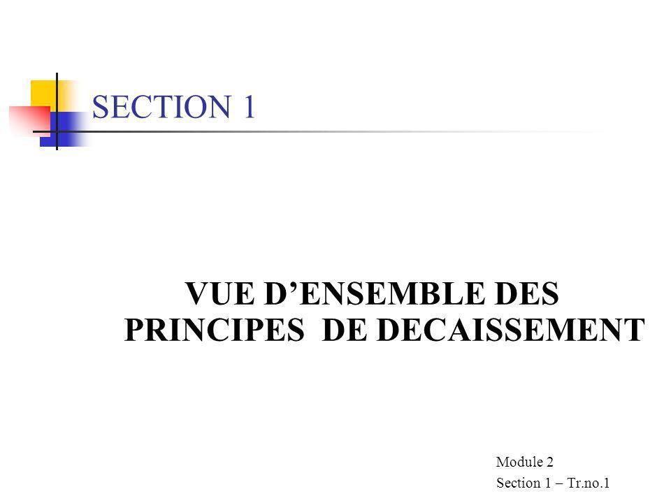 VUE D'ENSEMBLE DES PRINCIPES DE DECAISSEMENT