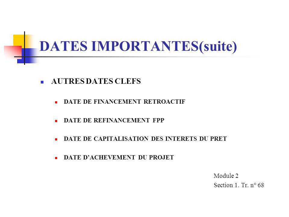 DATES IMPORTANTES(suite)