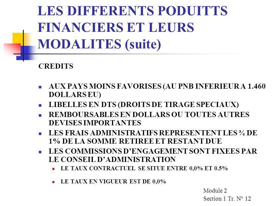 LES DIFFERENTS PODUITTS FINANCIERS ET LEURS MODALITES (suite)
