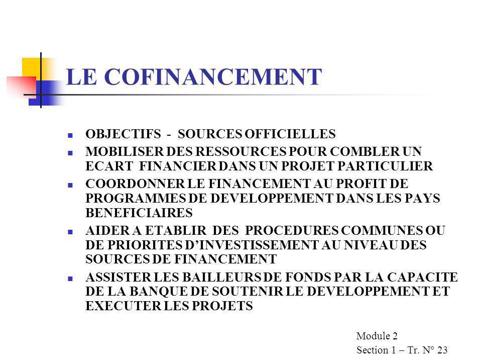 LE COFINANCEMENT OBJECTIFS - SOURCES OFFICIELLES