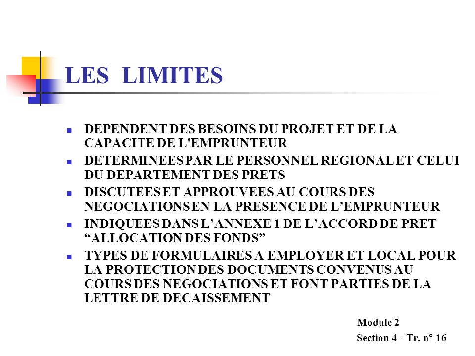 LES LIMITES DEPENDENT DES BESOINS DU PROJET ET DE LA CAPACITE DE L EMPRUNTEUR.