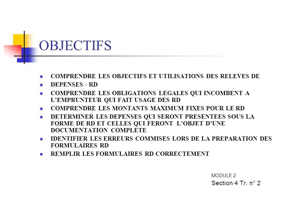 OBJECTIFS COMPRENDRE LES OBJECTIFS ET UTILISATIONS DES RELEVES DE