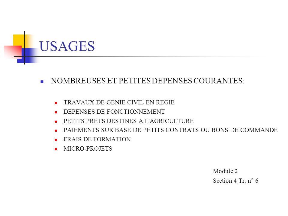 USAGES Module 2 NOMBREUSES ET PETITES DEPENSES COURANTES: