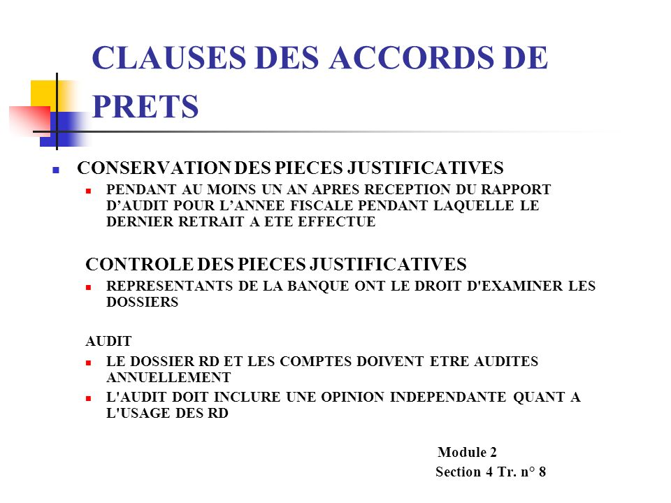 CLAUSES DES ACCORDS DE PRETS