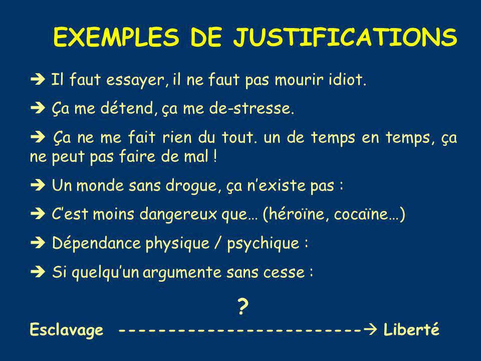 EXEMPLES DE JUSTIFICATIONS