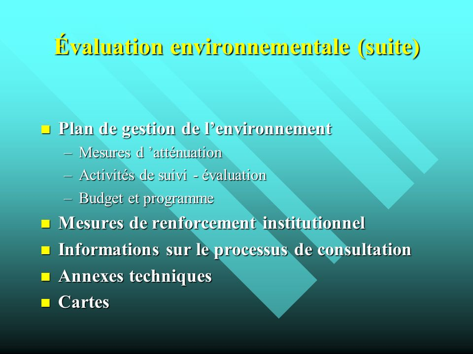 Évaluation environnementale (suite)