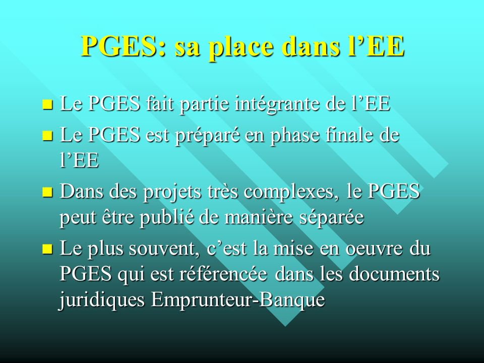 PGES: sa place dans l'EE