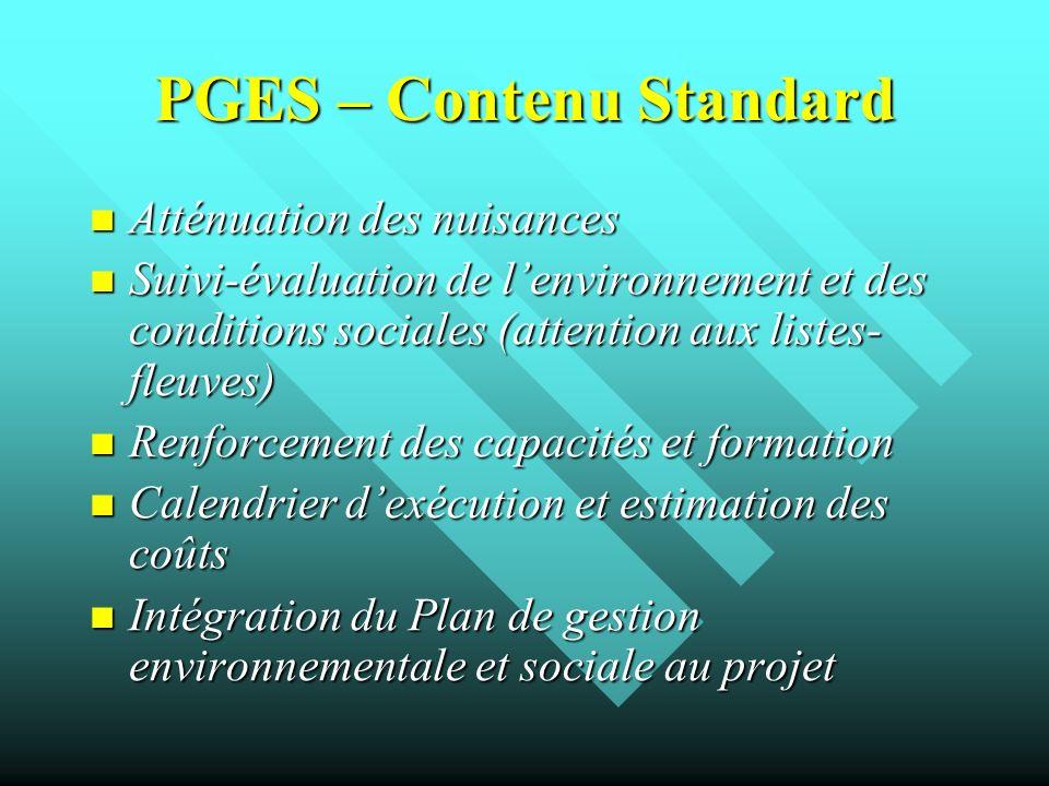 PGES – Contenu Standard
