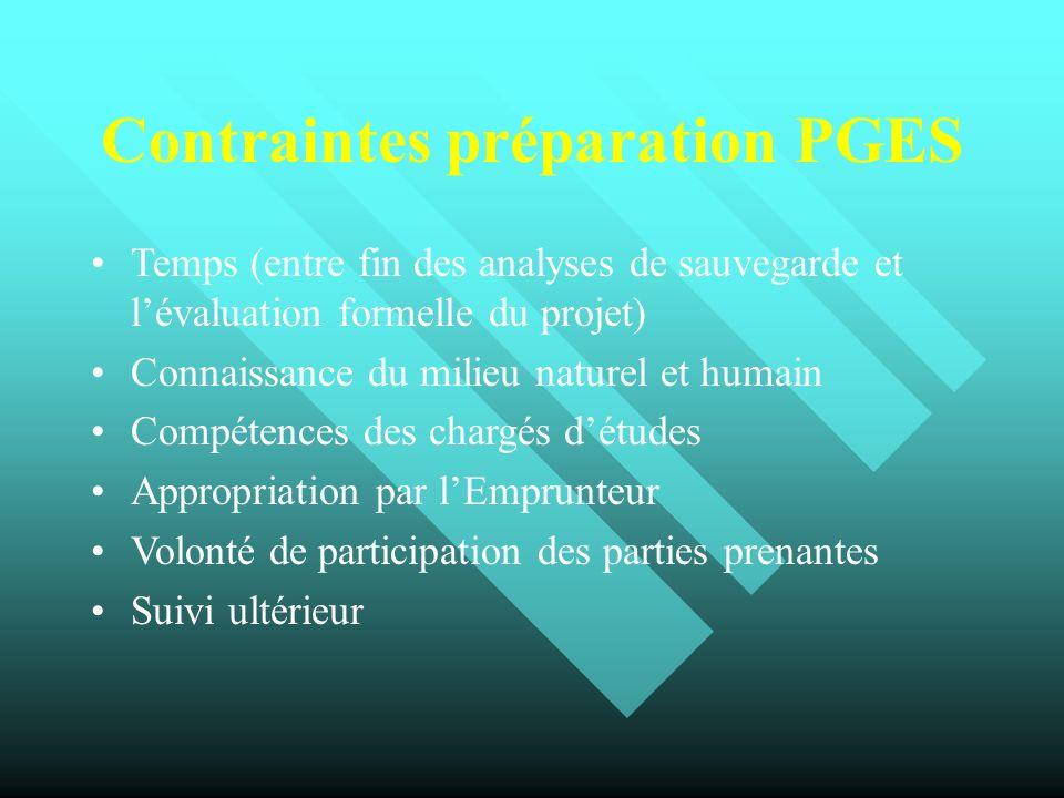 Contraintes préparation PGES