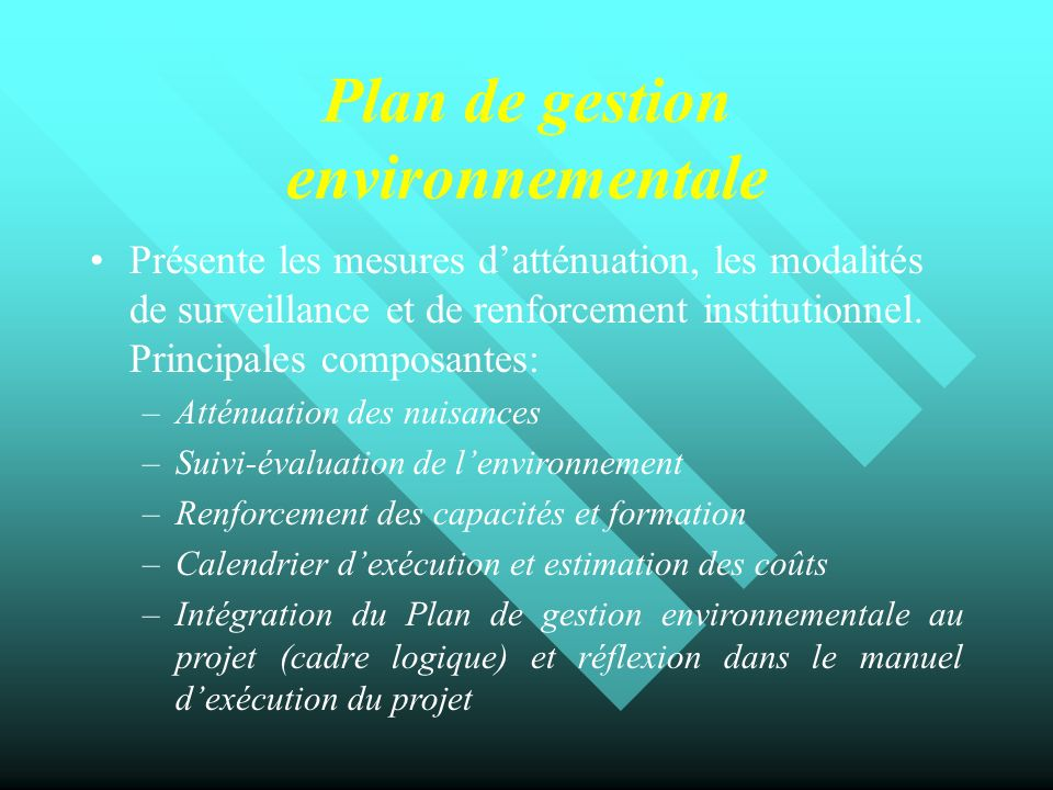 Plan de gestion environnementale