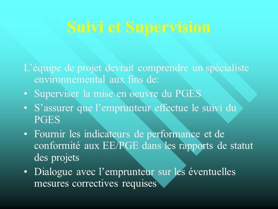 Suivi et Supervision L'équipe de projet devrait comprendre un spécialiste environnemental aux fins de: