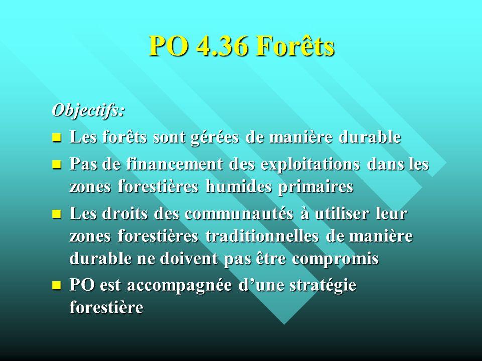 PO 4.36 Forêts Objectifs: Les forêts sont gérées de manière durable