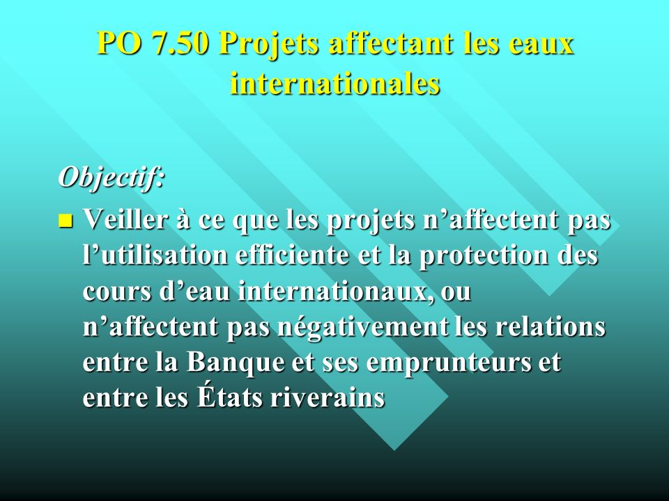 PO 7.50 Projets affectant les eaux internationales