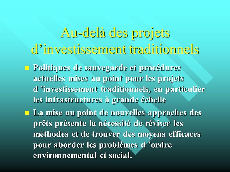 Au-delà des projets d'investissement traditionnels