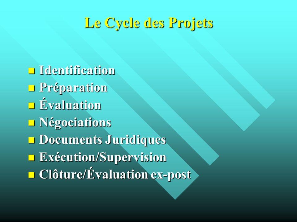 Le Cycle des Projets Identification Préparation Évaluation