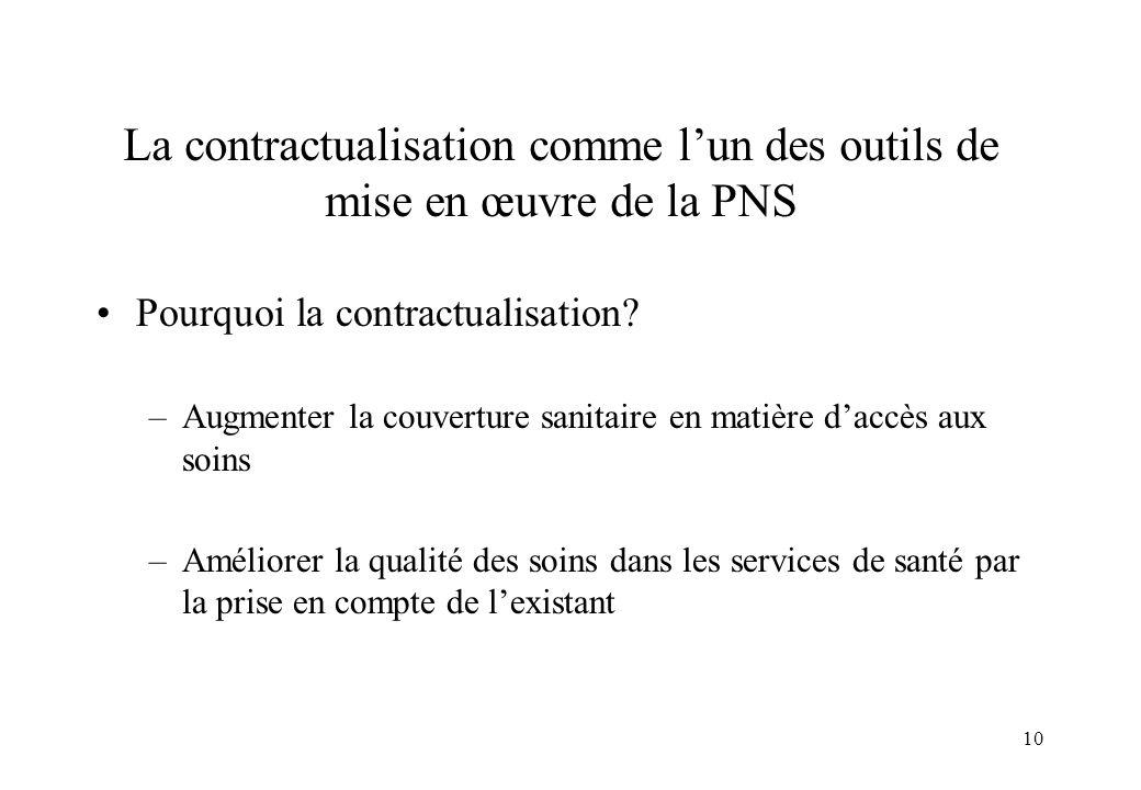 La contractualisation comme l'un des outils de mise en œuvre de la PNS