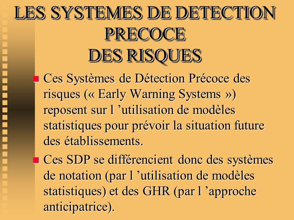 LES SYSTEMES DE DETECTION PRECOCE DES RISQUES