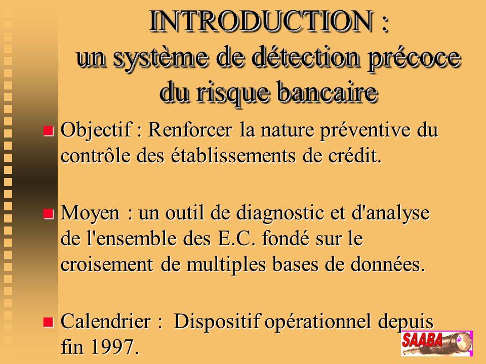 INTRODUCTION : un système de détection précoce du risque bancaire
