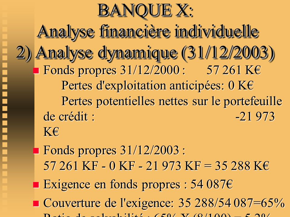 BANQUE X: Analyse financière individuelle 2) Analyse dynamique (31/12/2003)