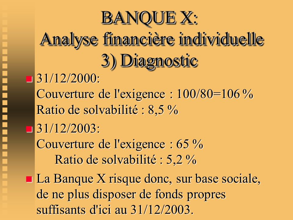 BANQUE X: Analyse financière individuelle 3) Diagnostic
