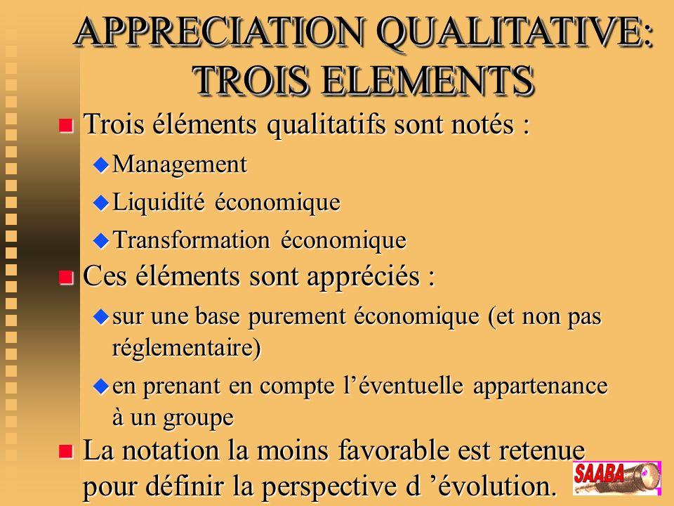 APPRECIATION QUALITATIVE: TROIS ELEMENTS