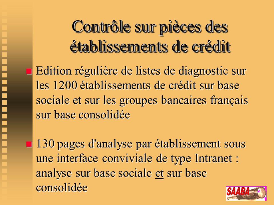 Contrôle sur pièces des établissements de crédit