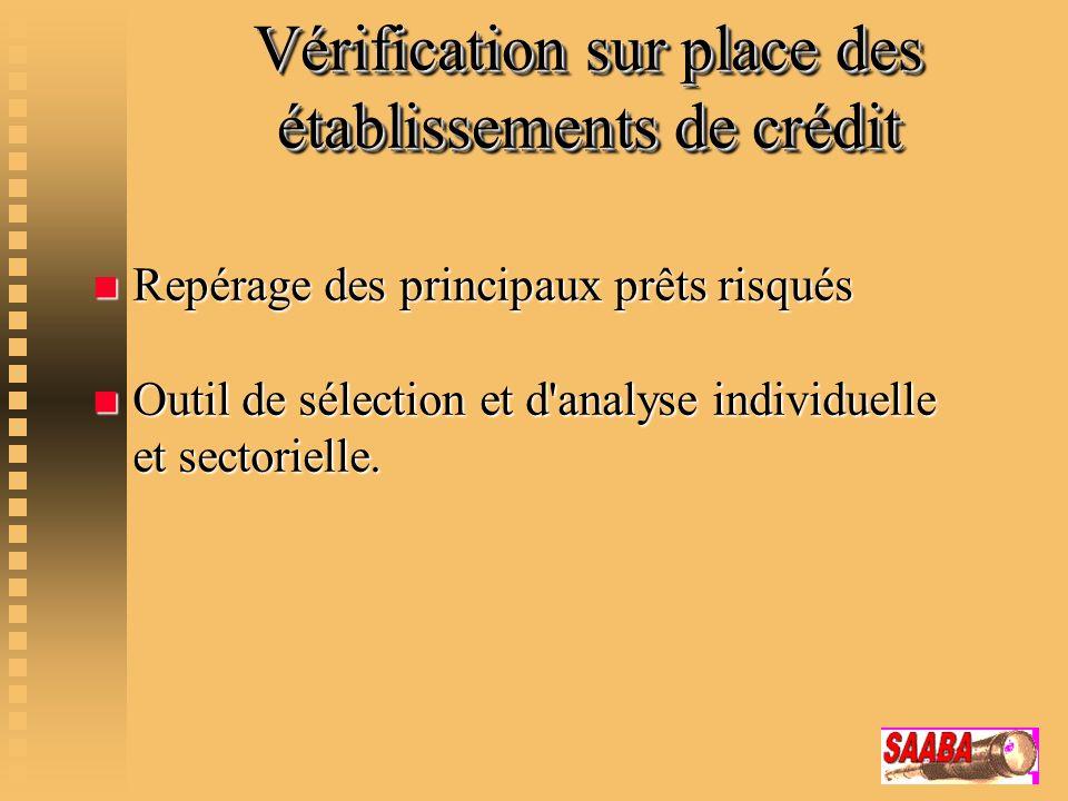 Vérification sur place des établissements de crédit