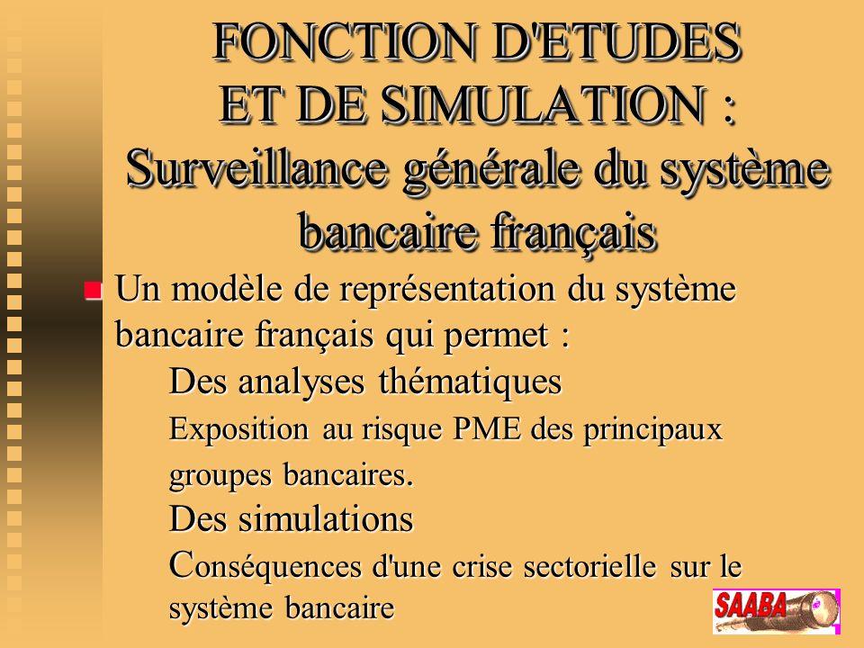 FONCTION D ETUDES ET DE SIMULATION : Surveillance générale du système bancaire français