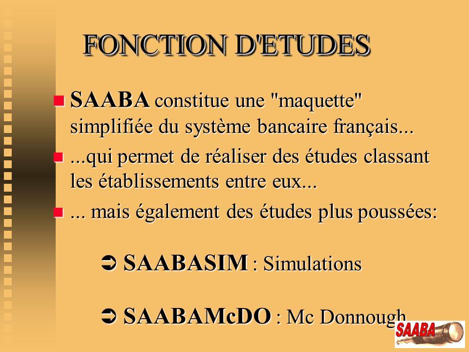 FONCTION D ETUDES SAABA constitue une maquette simplifiée du système bancaire français...