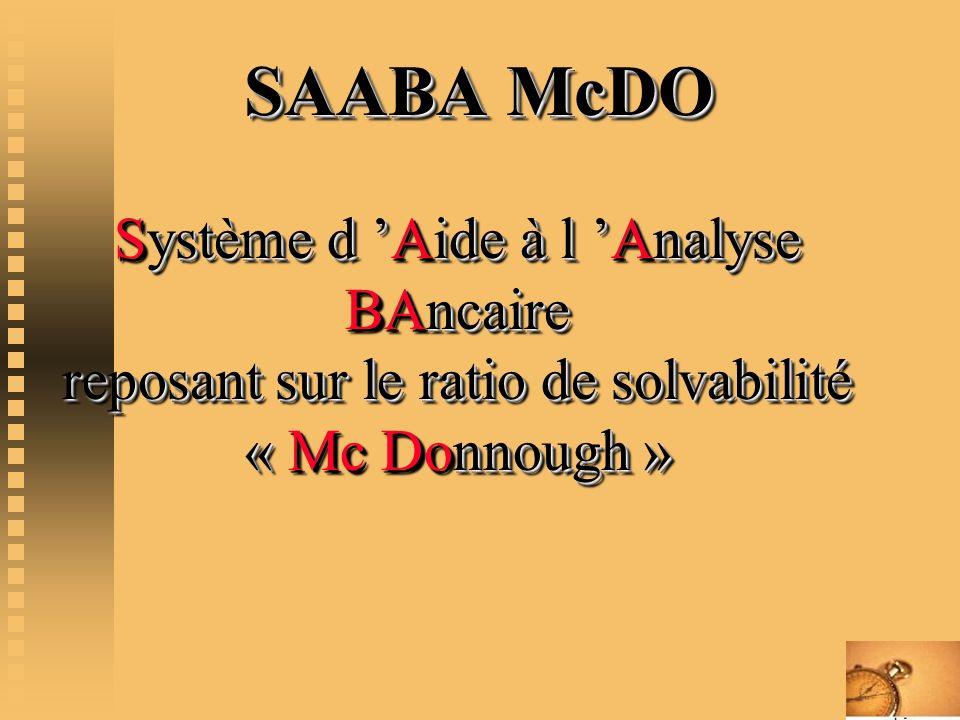 SAABA McDO Système d 'Aide à l 'Analyse BAncaire reposant sur le ratio de solvabilité « Mc Donnough »