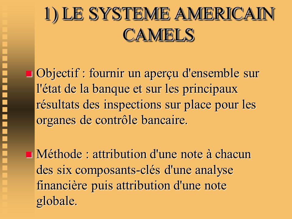 1) LE SYSTEME AMERICAIN CAMELS