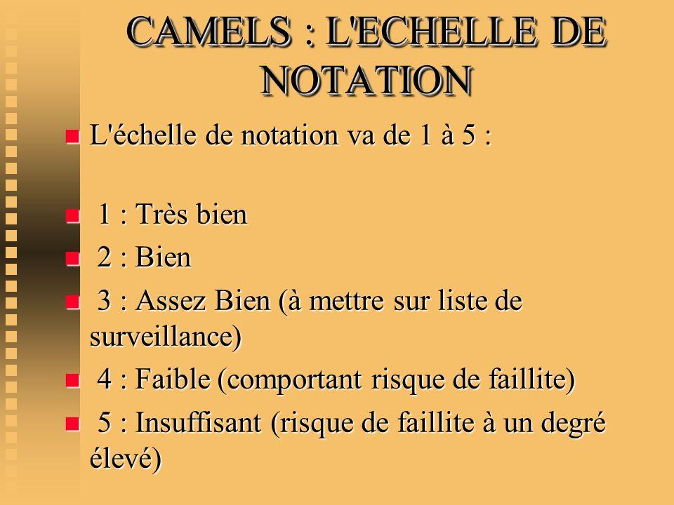 CAMELS : L ECHELLE DE NOTATION