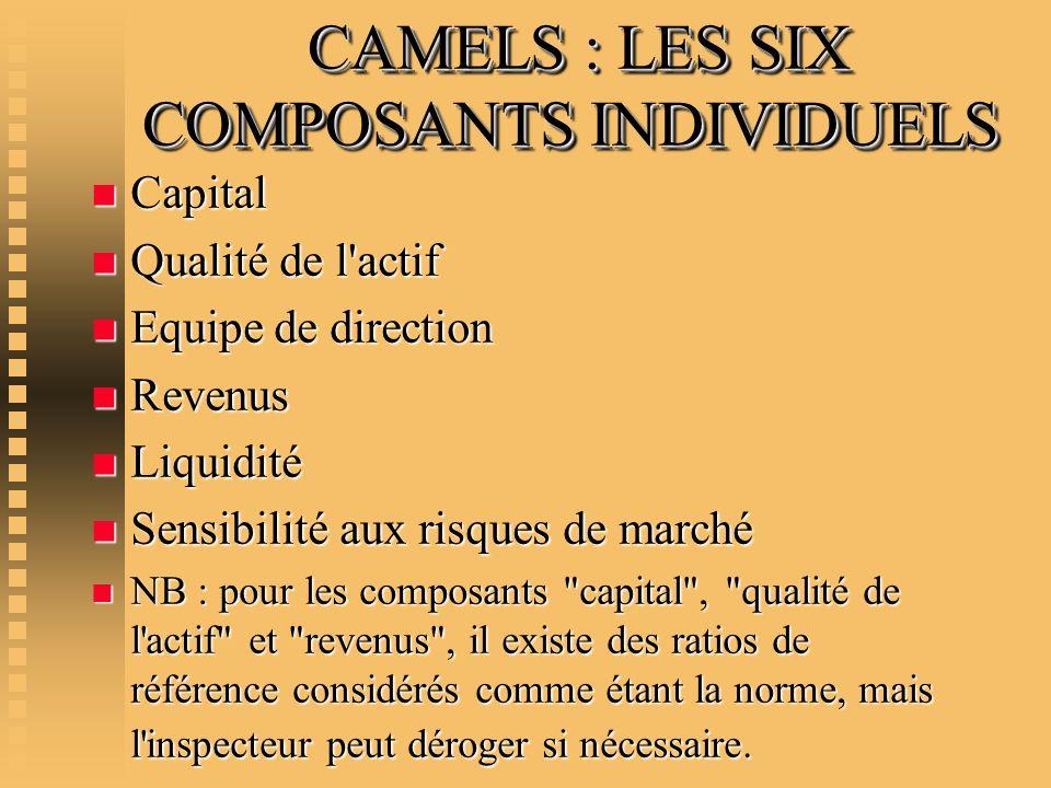 CAMELS : LES SIX COMPOSANTS INDIVIDUELS