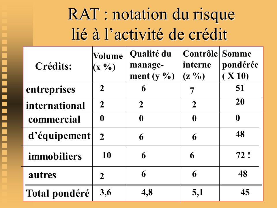 RAT : notation du risque lié à l'activité de crédit