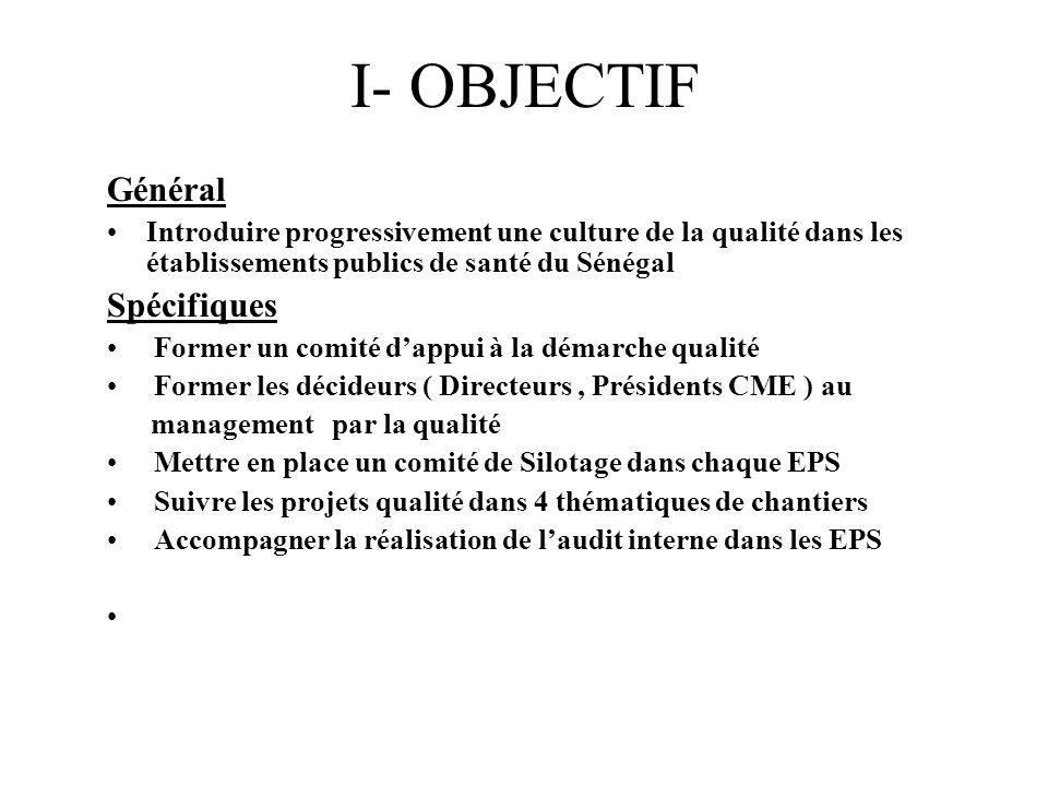 I- OBJECTIF Général Spécifiques