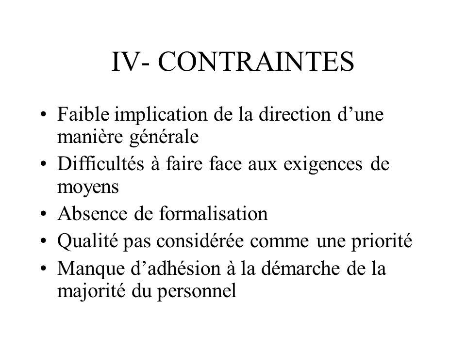IV- CONTRAINTES Faible implication de la direction d'une manière générale. Difficultés à faire face aux exigences de moyens.