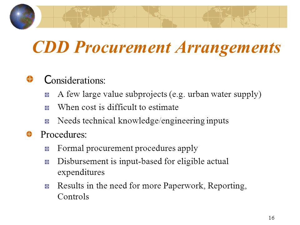 CDD Procurement Arrangements