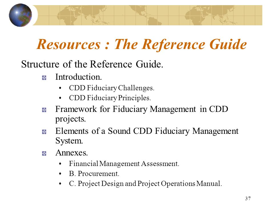 Resources : The Reference Guide