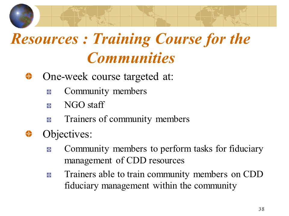 Resources : Training Course for the Communities
