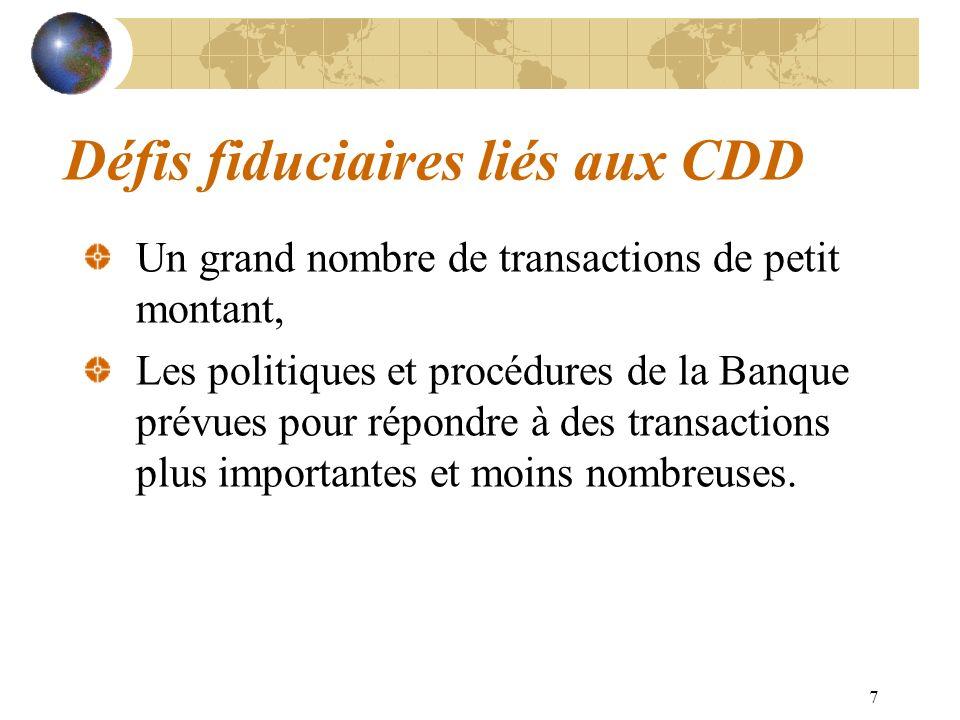 Défis fiduciaires liés aux CDD