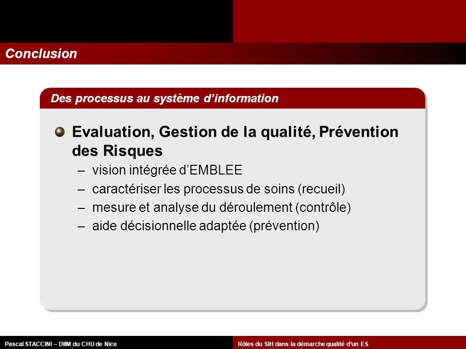 Evaluation, Gestion de la qualité, Prévention des Risques
