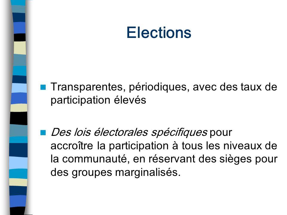 Elections Transparentes, périodiques, avec des taux de participation élevés.