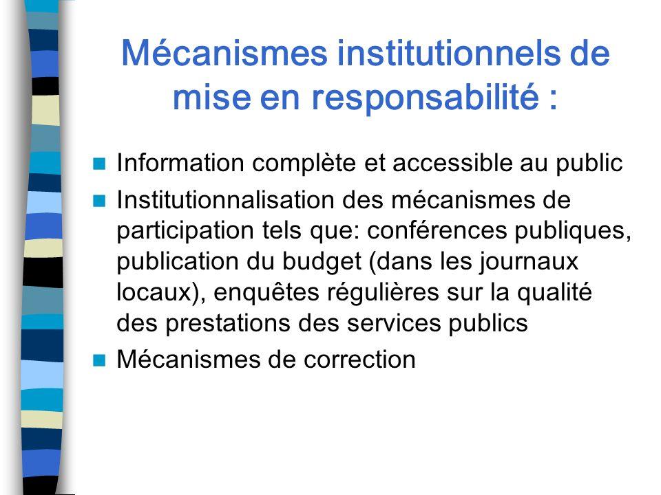 Mécanismes institutionnels de mise en responsabilité :
