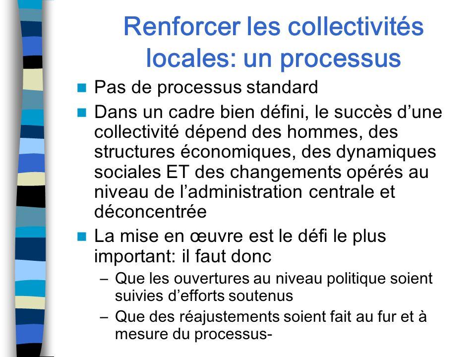 Renforcer les collectivités locales: un processus
