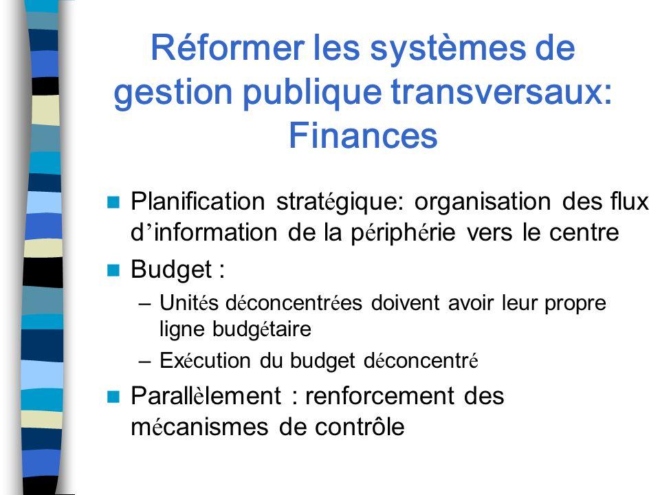 Réformer les systèmes de gestion publique transversaux: Finances